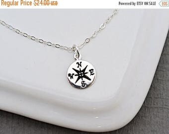 SALE - Silver or Gold Compass necklace,  Travelers Necklace, Graduation Necklace, Best Friends Necklace, Friendship Necklace, Tiny Compass c