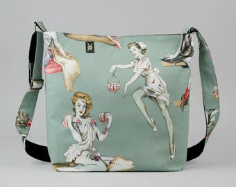 Zombie Pin Up Girls Large Crossbody Bag, Work School Book Bag, Mint Green Gray Red, Fabric Shoulder Bag with Canvas Liner