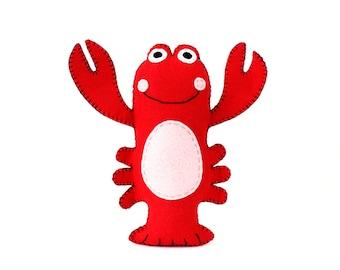 Lobster Sewing Pattern, Stuffed Lobster Pattern, Plush Lobster Sewing Pattern, Lobster Softie, Instant Download PDF