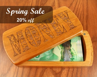 REDUCED PRICE - Discontinued Stock, Wooden Money Storage Box, Solid Cherry, laser engraved MONEY, bills, coins, cash, Masterpiece Laser
