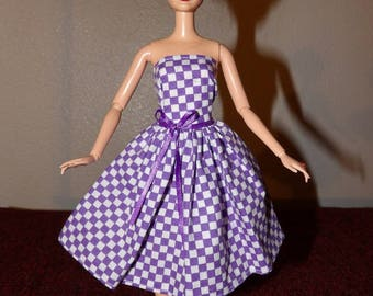 Stylish purple & white checked strapless party dress for Fashion Dolls - ed1024