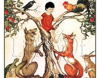 Boy Up a Tree - Fox -Aesop fables- Personalized Bookplate - Fox, Wolf, Turtle, Rabbit, Rooster, Raven