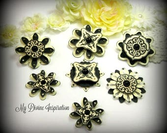 Elegant Chic Black and Ivory Paper Embellishments and Paper Flowers for Scrapbooking Cards Mini Albums and Papercrafts
