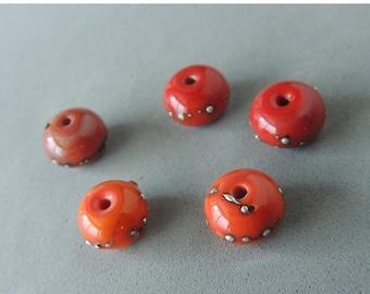 30% OFF Handmade Lamp Work Beads, Orange Red Lamp Work Beads, Silver Embellishments, Artisan Beads, 5 Beads