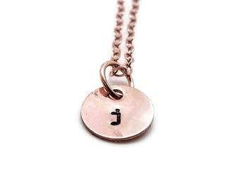 Rose Gold Initial Necklace, Letter j Necklace, Personalized Jewelry, All Letters Available, Hand Stamped Jewelry, Mother's Necklace, Custom