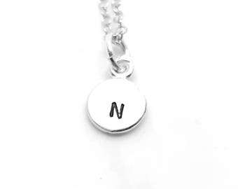 Mini Initial Necklace, Sterling Silver, Letter N Necklace, Hand Stamped Jewelry, All Letters Available, Mother's Necklace, Gift for Her
