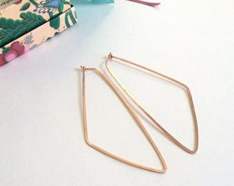 """Rose Gold Triangle Hoops Long Rose Gold Triangle Earrings Geometric Statement Earrings Hammered Wire Jewelry Tribal Earring 3"""" Gold Hoops"""