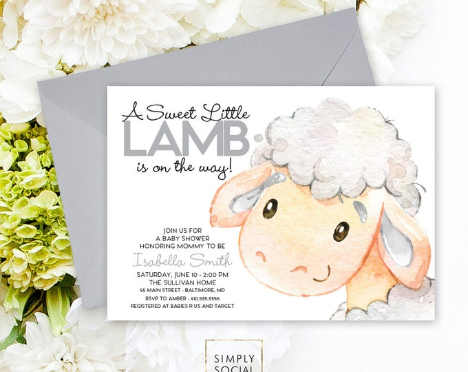 Little Lamb Baby Shower Invitation - Gender Neutral Watercolor Sheep Farm Country Baby Shower Little Lamb Printable Sweet Little Lamb