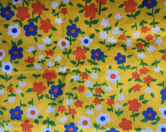 White blue and orange Flowers on Yellow - Vintage  Fabric-34inches