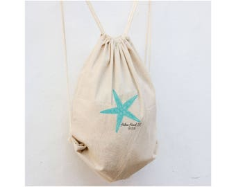 Starfish Wedding Favor, Custom Wedding Backpacks, Wedding Backpack for guest, Hotel Gift Bags, Beach totes for Wedding,