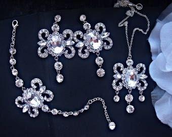 Bridal rhinestone jewelry set bridal crystal jewelry wedding jewelry set, bracelet earrings set, rhinestone bracelet, chandelier earrings