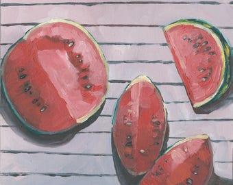 Watermelon Original Oil Painting // Watermelon Kitchen Artwork  - Watermelon Kitchen Painting - Food Painting Watermelon Art