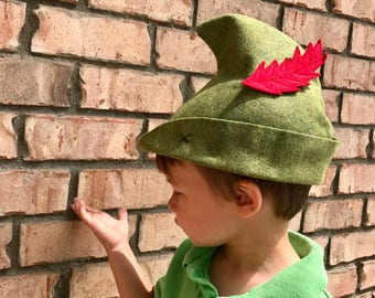 Olive Green Peter Pan Hat with Red Feather