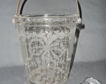 Fostoria Etched Glass JUNE ICE BUCKET w/tongs