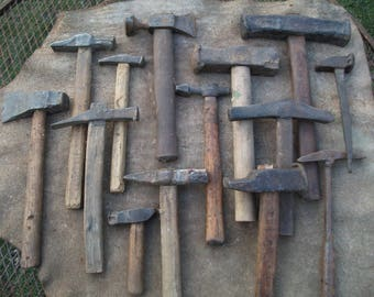 Set of 14 Antique Relic Blacksmith's hammers damaged condition