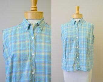 1960s Plaid Sleeveless Cotton Blouse
