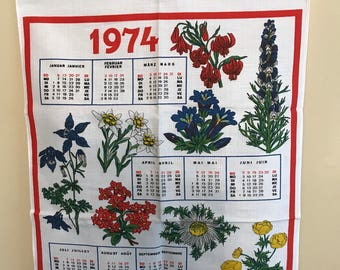 Vintage Linen Dish Towel/1974 German/French Calendar Towel/ German Tea Towel/ French Tea Towel/Linen Calendar Wall Hanging