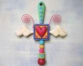 Heart of an Angel, Original Found Object Wall Sculpture, Wood Carving, Painted Sculpture, Angel Wings, Heart Art, by Fig Jam Studio