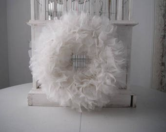 white fluffy wreath tulle look wreath cottage chic shabby decor white rag wreath nursery decor wedding wreath door wreath 15 inch wreath