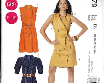 McCalls M6279 Dress Double Breasted Trench Shirt And Belt Sewing Pattern UNCUT Size 8, 10, 12, 14, 16 Front Button