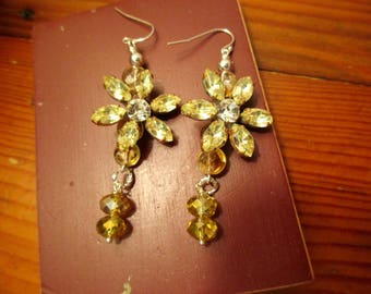 Superb Vintage CZECH Mega Faceted CITRINE Gemstone & Clear Rhinestone Prong-Set Flower PIERCED Earrings w/Citrine Dangles: Sterling Silver
