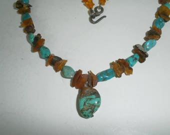 Gorgeous Handmade Turquoise and Amber Necklace with Silver Clasp