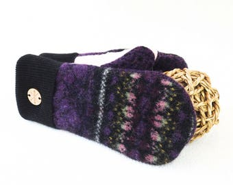 Wool Mittens PURPLE & BLACK Fair Isle Nordic Sweater Wool Mitts Fleece Lined Gloves Eco Gift by WormeWoole