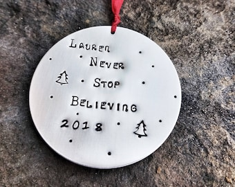 Believe Christmas Ornament - Stocking Stuffer for kids - Christmas Decorations Personalized - Christmas Ornaments Handmade - Gift For Friend