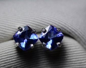 Tanzanite Earrings, Certified 2.77 Carat Cushion Cut Stud Earrings, Sterling Silver, Real Genuine Natural Blue Tanzanite Jewellery