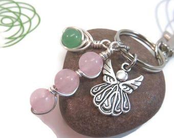 Rose quartz keychain - guardian angel keychain - rose quartz bag charm - silver keychain - green aventurine - new age gift - healing