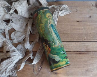 Old french tin box for Holly water bottle from Lourdes