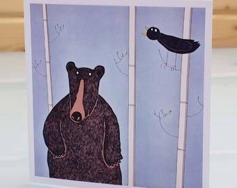 Standing bear - blank inside card, black bear card, bear greeting card, bear birthday card, fun bear card, brown bear card, grizzly bear