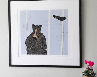 Standing Bear - original black bear print, hand-printed signed limited edition of 30 black bear prints, black bear art print unframed