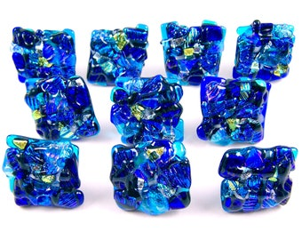 "Dichroic Knobs - Set of 10 - Drawer Pull Cabinet Handle - Mosaic 1"" / 25mm - Teal Clear Blue Sea Beach Custom Made Fused Glass Kitchen Bath"