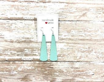 Mint Green Saffiano Leather Elongated Teardrop Drop Earrings