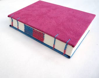 Magenta, blue, journal, Coptic, woven spine, notebook, faux suede