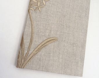Natural notebook, journal, linen, recycled, single signature, A6, flower, embroidered