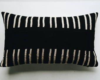 African Mudcloth Pillow Cover - Black Tribal Bohemian Throw Pillow - Boho Pillow