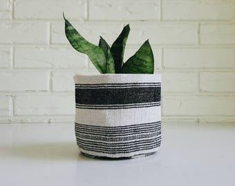 Hmong Textile Plant Cover - Black Striped Hmong Planter Cover - Modern Bohemian
