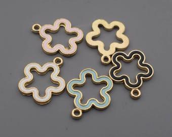 Enamel Geometry Charms-16Pcs Enamel Lake Blue Black White Pink Geometry Plum Blossom Charms, Hot Summer Charm Jewelry Supplies C8530