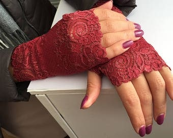Lace Gloves in Burgundy Red.  Romantic  lace gloves. Ready to ship!