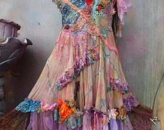 20%OFF wildskin, bohemian wedding dress, bridesmaid dress, woodland dress, fantasy dress, gypsy wedding, hippy wedding, mori girl, wedding,