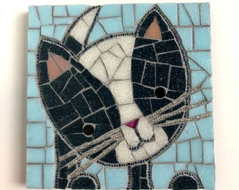 Cat Artwork, Kitten Mosaic, 6x6 mosaic cat with bead whiskers