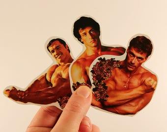 muscle actor stickers laptop labels tags - van damme stallone schwarzenegger