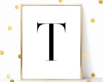 SALE -50% Letter T Monogram Alphabet Name Digital Print Instant Art INSTANT DOWNLOAD Printable Wall Decor