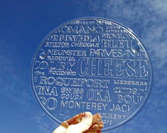 Vintage Cheese Platter - MINT condition - Cheese Typology on Clear Glass - Glass Cheese Cutting Board