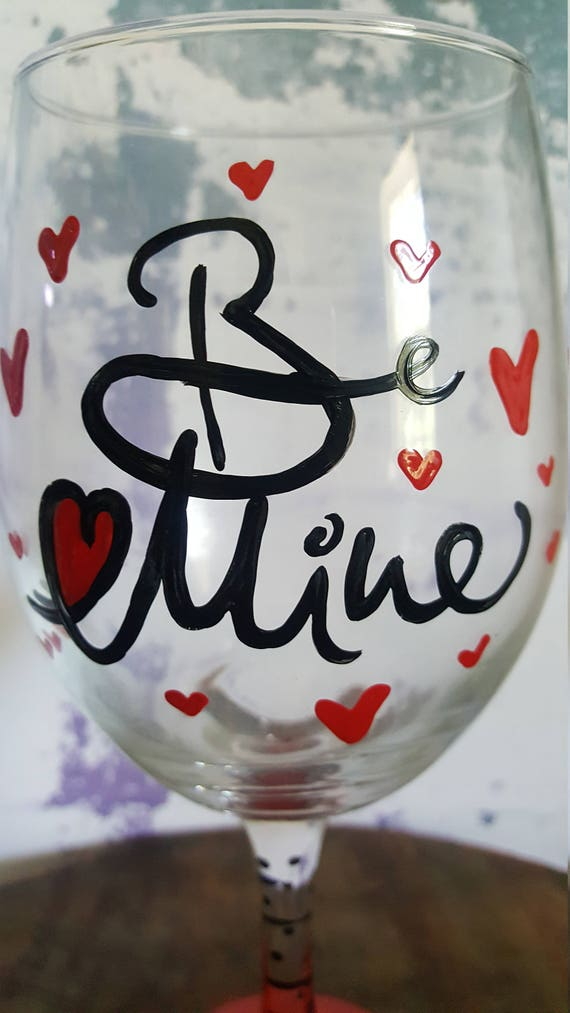 Love wineglass, Valentine Wineglass, Anniversary Wineglass, Birthday Wineglass,