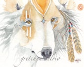 PATHFINDER aceo WOLF watercolor giclee PRINT spirit totem animal - Free Shipping