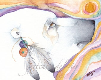 POLAR BEAR greeting card watercolor spirit totem animal 'I Dream of Snow and Ice' Native American