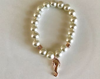 ivory pearl flower girl bracelet with rose gold sea horse charm  - Flower girl jewelry - Bridal jewelry